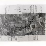Aerial view of Arcadia.  Photo is dated in lower left corner and has descriptions and arrows all along the border.