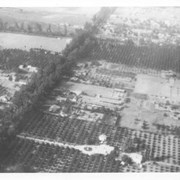 Aerial view north.  Main tree-lined street is Santa Anita Avenue.  Most of the orange grove in center of photo was owned by Jaspar Teague family.  They had built a circular art gallery on their property at 1380 South Santa Anita Avenue. The large buildings north of Teague's and to the west of Santa Anita Avenue are chicken houses.  Duarte Road is the east/west street across photo near top of photo.